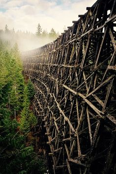 Canada, Vancouver Island - the Kinsol trestle. Located on Vancouver Island north of Shawnigan Lake in the Canadian Province of British Columbia. It has been abandoned since Vancouver Island, Canada Vancouver, Abandoned Buildings, Abandoned Places, Ottawa, British Columbia, Rocky Mountains, Old Trains, Train Tracks