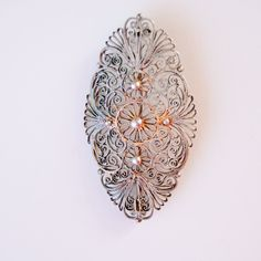 Vintage Filigree Brooch - Metal Soviet Jewelry - Vintage Handmade - Collectible - Fashion. $45,00, via Etsy.