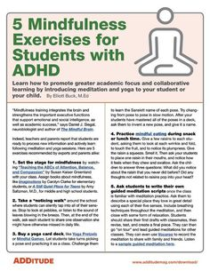 5 Mindfulness Exercises for Students with ADHD