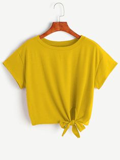 MUQGEW Short loose bow summer T-shirt Women female ladies Loose Casual Short Sleeve Solid O-Neck cotton T shirt tops Cute Casual Outfits, Cute Summer Outfits, Teen Fashion Outfits, Outfits For Teens, Fashion 2017, Short T Shirt, Yellow Clothes, Belly Shirts, Girls Crop Tops