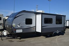 SPACIOUS TRAVEL TRAILER!!!  2016 Coachmen Catalina SBX 261BHS Reaching 30' in length, there is a huge bed for you and bunks for the kids or guests! A spacious kitchen to cook in and a lovely dinette to sit around for eating! Relax on the sofa for a movie night! Sit outside under your awning and enjoy the shade of the day! Shipping weight is 6,138 pounds.  Call our Catalina expert Karin Florida 810-834-9851 Trailer Awning, Huge Bed, Coachmen Rv, Rv Dealers, Rvs For Sale, Recreational Vehicles, Sofas, Michigan, Relax
