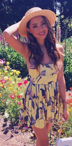 #spring #outfits Light Hat + Yellow Printed Dress 🌎💕