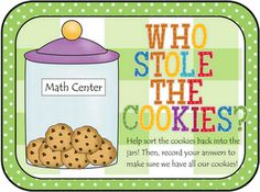Who Stole the Cookies? Numbers/Number Words Cookie Sort for Math Stations