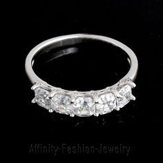 2.26 CT Asscher D/VVS1 Five Stone Engagement Ring 14k White Gold Over FINE EDH #AffinityFashionJewelry #FiveStone