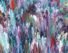 """""""Ice Cream Mountains"""" by Alexandra Romano. Acrylic painting on Canvas, Subject: Abstract and non-figurative, Organic style, One of a kind artwork, Signed on the back, This artwork is sold unframed, Size: 50.8 x 40.64 x 1.78 cm (unframed), 20 x 16 x 0.7 in (unframed), Materials: Acrylic"""