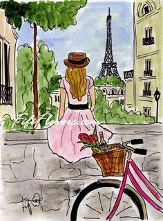 Bicycle+Touring+Paris+por+fififlowers+en+Etsy,+$25,00