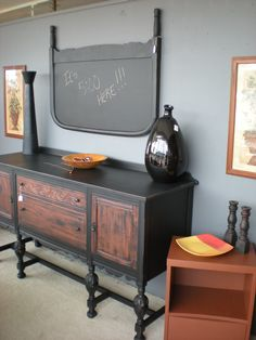 Vintage buffet two toned, black and terra cotta!