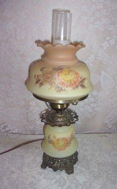 Vintage Quoizel Milk Glass Hurricane Lamp Parlor