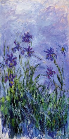 Lilac Irises by Claude Monet. I chose this painting because it has my favorite type of flowers. I also didn't know that Monet painted irises. I thought he just painted water lilies. Claude Monet, Vincent Van Gogh, Art Amour, Art Et Illustration, Impressionist Paintings, Monet Paintings, Impressionism Art, Original Paintings, Paintings Famous