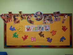 We All Fit In. First day of school bulletin board.   Students enjoy seeing their name on the board.  We discuss how we are similar and different, yet we all fit in together as a class group; we can accept and respect each other.  The class revisits these ideas after about two weeks of school, and the puzzle pieces are removed and pieced together to form an actual working puzzle.
