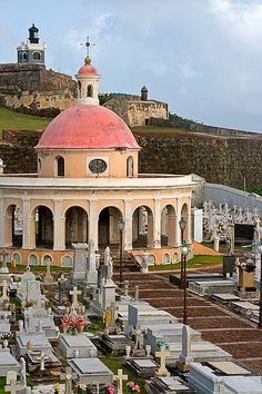 Old San Juan Cemetery, with view of El Morro, San Juan, Puerto Rico