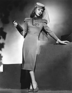 "ida lupino in a dress + veiled hat for ""they drive by night"" 