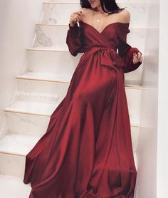 Off Shoulder Long Sleeve A-Line Silk Elastic Satin Burgundy Prom Dresses, – Mode Mode / Schulterfrei Langarm A-Linie Seide Elastischer Satin Burgund Prom Dresses, # # Satin Gown, Satin Dresses, Formal Dresses, Burgundy Prom Dresses, Silk Gown, Red Party Dresses, Burgundy Satin Dress, Dark Red Dresses, Burgundy Evening Dress