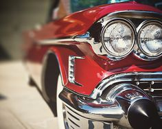Red Cadillac Picture, Classic Car Photography, Mid-Century Red Car, 1950s Mad Men, Art for Men, Headlight, Hip, Retro, .