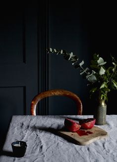 Styling by Hannah Cork. Shot by Jon Aaron Green. Dark and moody interior with blush pink and brass accents. Aaron Green www. Interior Stylist, Interior Design, Dark Interiors, Blush Pink, Cork, Brass, Green, Wardrobes, Inspiration