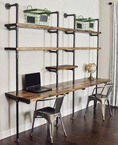 4 Tiers Industrial Laptop Desk,Solid Wood & Iron Pipe Computer Desk,Wall Pipe Desk with Shelves,Computer Table for Home Office - DIY Desk Ideen Home Office, Office Decor, Office Free, Office Workspace, Small Office, Solid Wood Shelves, Solid Wood Desk, Desk Shelves, Pipe Shelves