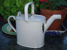 Vintage, White Enamel, Watering Can, Water Jug