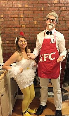 My home made chicken Halloween costume and homemade KFC Apron. My home made chicken Halloween costume and homemade KFC Apron. Source by bysophialee Best Couples Costumes, Couple Halloween Costumes For Adults, Homemade Halloween Costumes, Cute Halloween Costumes, Diy Costumes, Halloween Couples, Group Costumes, Teen Costumes, Woman Costumes