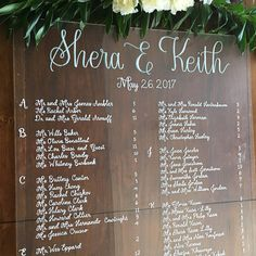 wedding seating chart acryllic or wood or mirror