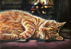 GINGER CAT LAZY NIGHT IN LIMITED EDITION PRINT OF PAINTING ANNE MARSH ART | eBay