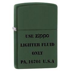 Zippo Lighter: Use Zippo Lighter Fluid Only - Green Matte