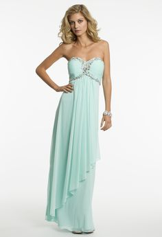 Strapless Mesh Draped Prom Dress by Camille La Vie