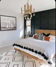 Home Interior Wall .Home Interior Wall Home Bedroom, Bedroom Wall, Bedroom Decor, Design Bedroom, Nautical Bedroom, Bedroom Ideas, Modern Bedroom, Mid Century Modern Master Bedroom, Dark Master Bedroom