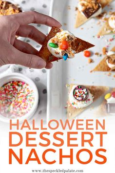 It's the sweetest time of year! Use Halloween leftovers to make decadent, delectable Halloween Dessert Nachos! Halloween Desserts, Fall Desserts, Halloween Treats, Delicious Desserts, Dessert Recipes, Halloween Fun, Halloween Christmas, Party Recipes, Halloween Entertaining