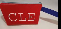 Cleveland Wristlet Clutch, red canvas, white screen print Check out this item in my Etsy shop https://www.etsy.com/listing/555538669/adorable-cle-wristlet