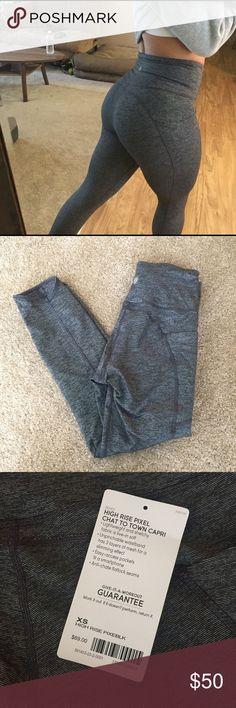 Athleta Chat to Town Leggings - Pixel Grey XS Pixel Grey Worn once still have tag Like a 7/8 Capri length (I'm 5'3 for reference) Fits like a 4 in Lululemon Slight compression, comfortable waist! Athleta Pants Leggings