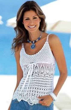 Summer Strappy Top free crochet graph pattern in aqua