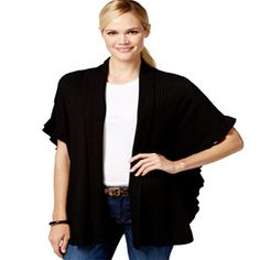 Charter Club Womens Ribbed Button Sleeves Cardigan Sweater Black L ** More info could be found at the image url. (It is an affiliate link and I receive commission through sales)