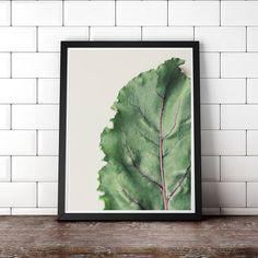 Botanical Digital Art, Green Leaf, Kitchen Art, Minimalist Art, Modern Art, Scandinavian Art, Still Life Art, digital download photo art