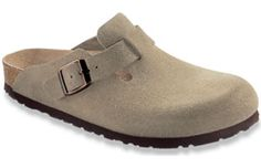 Boston Taupe Suede  Upper material: Suede - Thick and supple leathers without additional dyes to keep the leather breathable, durable and comfortable.  Footbed: The original Birkenstock footbed - Featuring pronounced arch support, deep heel cup, and roomy toe box. Footbed molds and shapes to your foot.  Sole material: EVA - Flexible, lightweight, durable and shock absorbing.