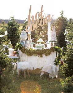 Dreamy Mint & Metallic Hot Cocoa Stand Party styled by One Stylish Party