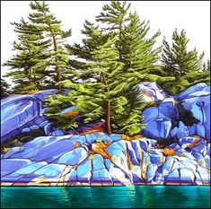 """Fraser Bay Shoreline"" by Margarethe Vanderpas Watercolor Landscape, Landscape Art, Landscape Paintings, Watercolor Art, Contemporary Landscape, Landscape Quilts, Landscapes, Polychromos, Canadian Artists"