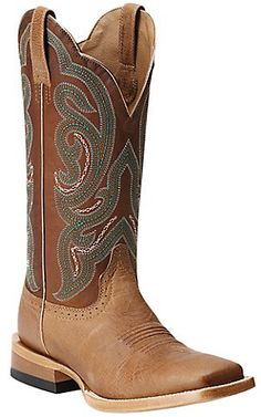 Ariat® Antonia™ Women's Tan with Sassy Brown Top Square Toe Western Boots | Cavender's