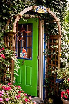 'Behind the Green Door' by Wanda Staples Old Doors, Windows And Doors, Front Doors, Knobs And Knockers, Door Knobs, Behind The Green Door, Gates, Unique Doors, Place Of Worship