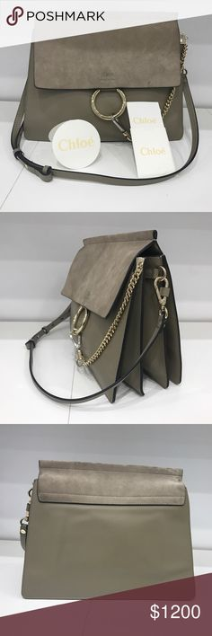 Chloe Faye Shoulder Bag (Motty Grey) Authentic Chloe Faye Shoulder Bag. 95% new. Received from my boyfriend as a gift around 6 months ago. Retail price was $1,950. This bag was made with Smooth calfskin & suede calfskin. Can be carried as Long or short shoulder. This bag has 2 Large compartments. Topstitched front flap with magnet closure. Internal zipped pocket. Adjustable leather strap. Delicate mix of pale gold and silver finishing. Refined beige suede calfskin lining. Comes with a dust…