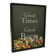 """Good Times Good Beers"" design in metallic silver shown on Craft Beer Hound original Shadow Box Beer Cap Collector"