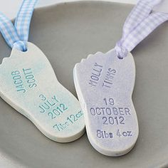 Personalised New Baby Ceramic Foot Decoration - their first year