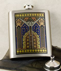 Egyptian Revival Art Deco 6 oz Image Flask