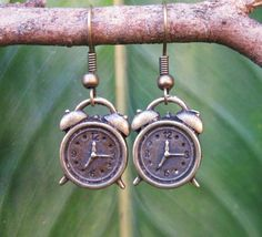 ANTIQUE GOLD RETRO ALARM CLOCK EARRINGS! MINIATURE ALICE TEA PARTY KAWAII KITSCH