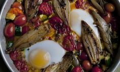 Baked eggs and vegetables / Nigel Slater's five vegetarian recipes | Life and style | The Guardian