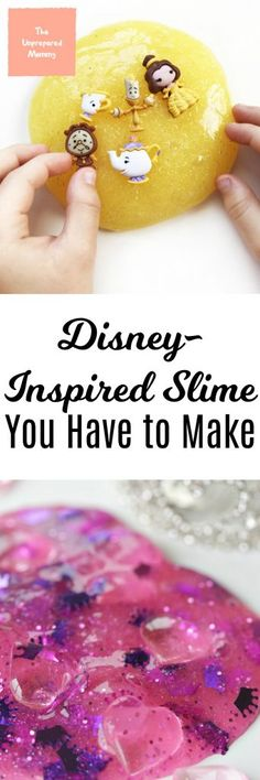 These Disney-inspired slime recipes are sure to make your day magical! #disney #slime