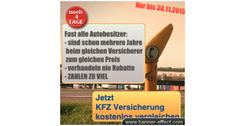 Nur noch 4 Tage um bis zu 850 EUR bei der KFZ Versicherung zu sparen ...