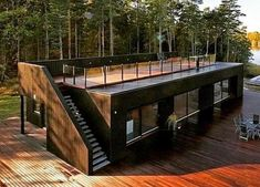 Shipping container homeYou can find Shipping container design and more on our website.Shipping container home Building A Container Home, Container Buildings, Container Architecture, House Architecture, Sustainable Architecture, Contemporary Architecture, Small House Design, Modern House Design, Modern Tiny House