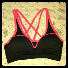 VS caged sports bra Victoria's Secret PINK padded caged sports bra! Super comfortable and cute! The padding is nice too, just too big for me. Only worn and washed once. Like brand new.   Check out my awesomely random closet ;) Victoria's Secret Intimates & Sleepwear Bras