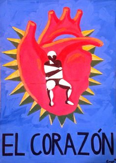 """El Corazón"" acrylic on cardboard"