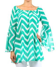 Turquoise & White Zigzag Bell-Sleeve Top